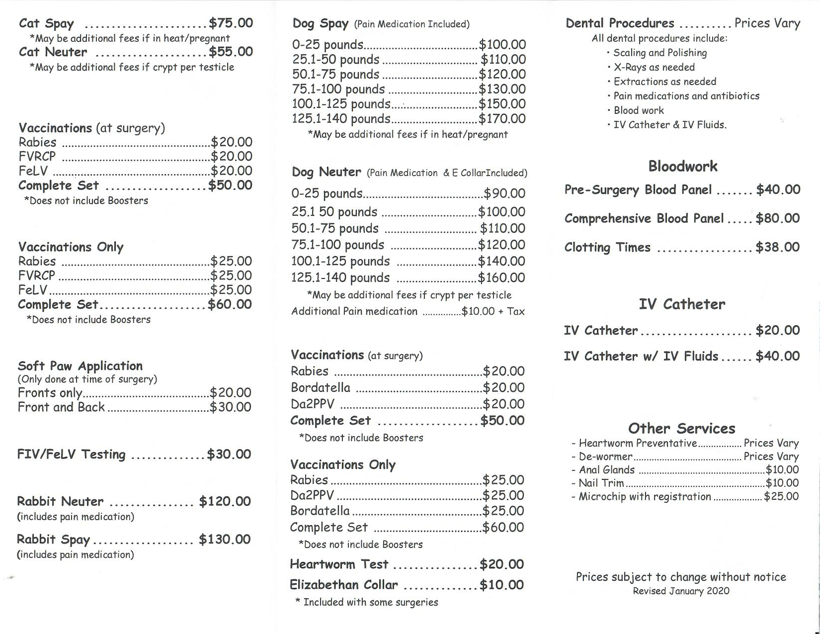 Spay and Neuter Price List